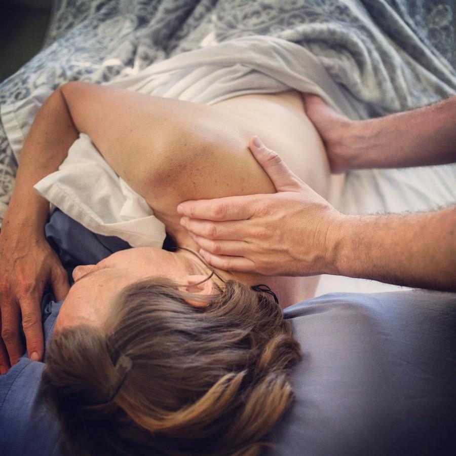 Sidelying prenatal massage low back and shoulders
